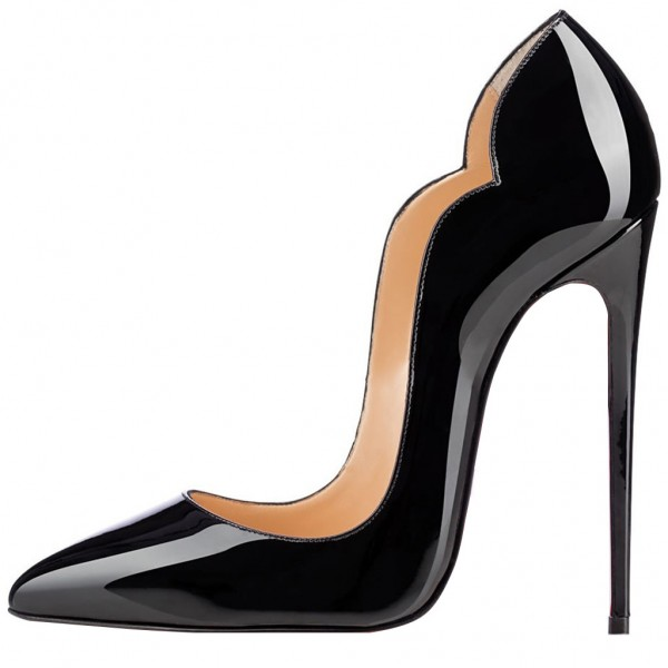 Black Dress Shoes Formal 5 Inch Stiletto Heel Pumps image 2