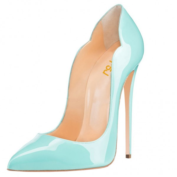 Turquoise Heels Patent Leather Stilettos Pumps for Office Lady image 1
