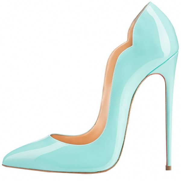 Turquoise Heels Patent Leather Stilettos Pumps for Office Lady image 2