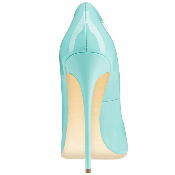 Turquoise Heels Patent Leather Stilettos Pumps for Office Lady image 3
