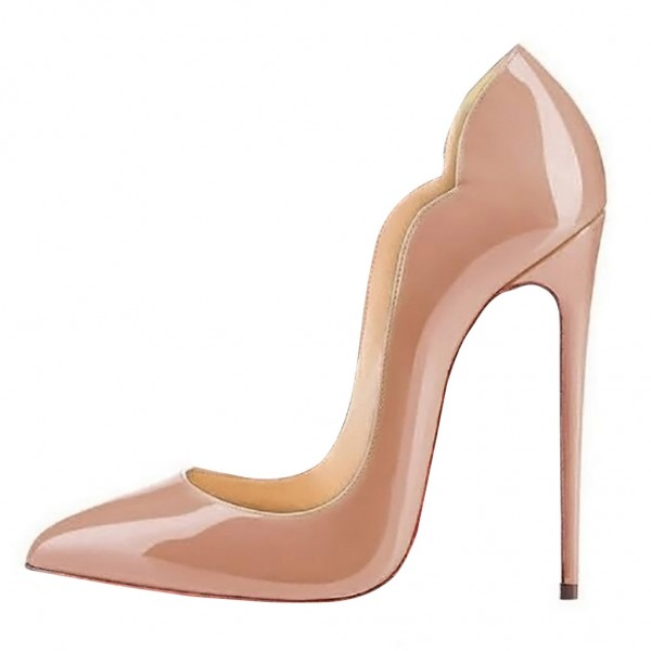 Blush Heels 5 Inches Stiletto Heels Pumps Patent Leather Office Heels image 3