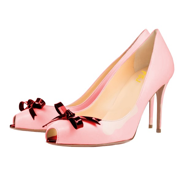 Women's Pink Bow Peep Toe Heels Stiletto Heel Pumps image 1