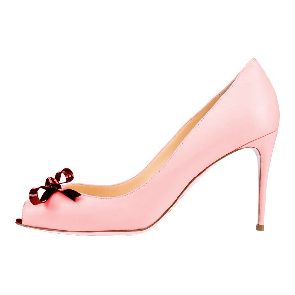 Women's Pink Bow Peep Toe Heels Stiletto Heel Pumps image 4