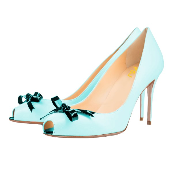 Light Blue Stiletto Heels Key Hole Pumps with Bow image 1