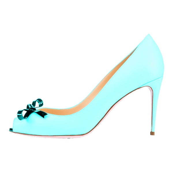Light Blue Stiletto Heels Key Hole Pumps with Bow image 2