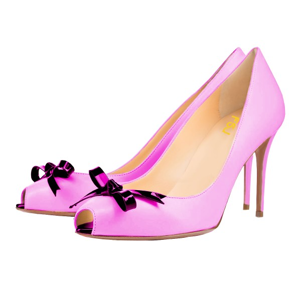 Orchid Peep Toe Heels 4 Inch Stilettos Pumps with Bow image 1
