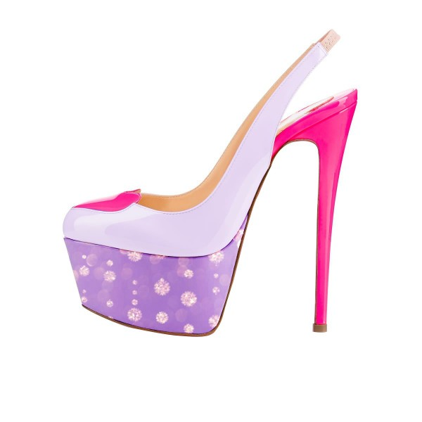 Women's Purple Heart Printed Stiletto Heels Pumps Sandals image 4