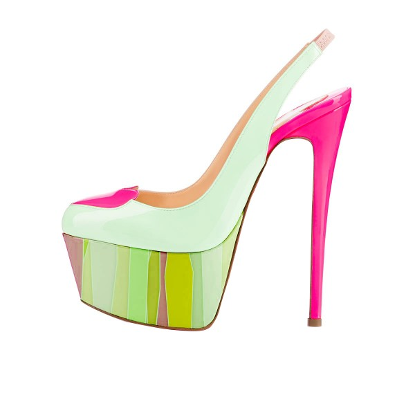 Light Green Slingback Pumps Pink Heart Platform High Heel Shoes image 2