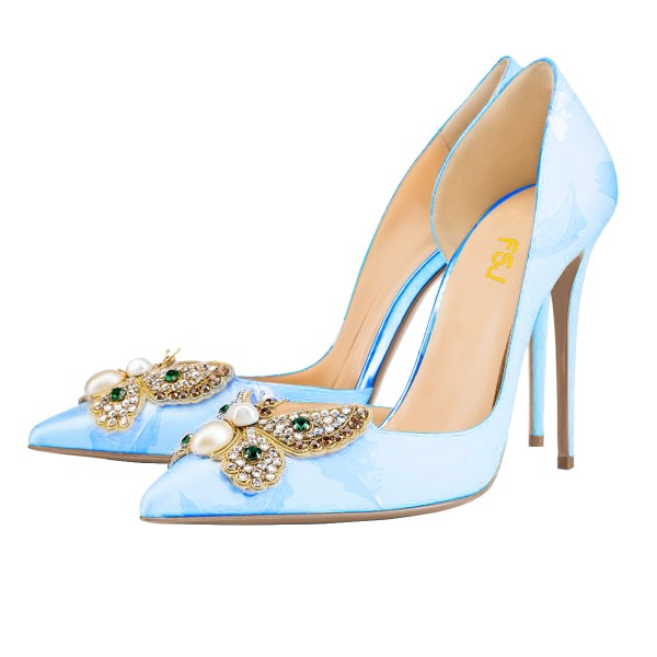 Sky Blue Wedding Shoes Stiletto Heels Satin Rhinestone Pumps image 1