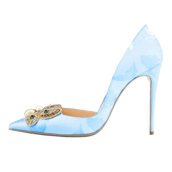 Sky Blue Wedding Shoes Stiletto Heels Satin Rhinestone Pumps image 2