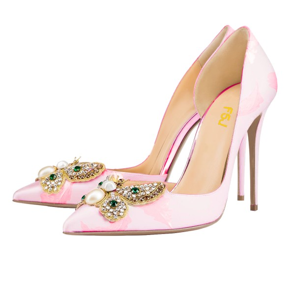 Pink Wedding Heels Satin Rhinestone Pointy Toe D'orsay Pumps  image 1