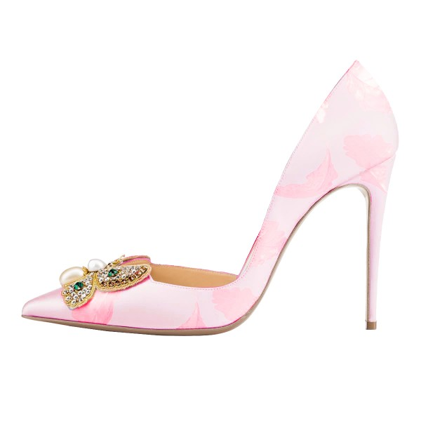 Pink Wedding Heels Satin Rhinestone Pointy Toe D'orsay Pumps  image 2