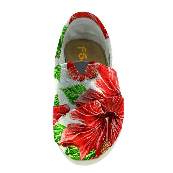 Women's Red  Chic Printed Slip-On Round Toe Comfortable Flats image 4