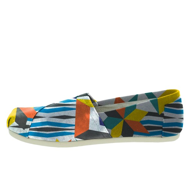 Women's Blue White Rippling Printed Slip-On Comfortable Flats image 3