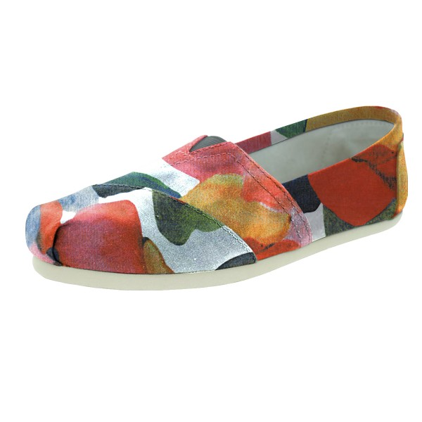 Women's Salmon Petals Printed Slip-On Comfortable Flats image 1