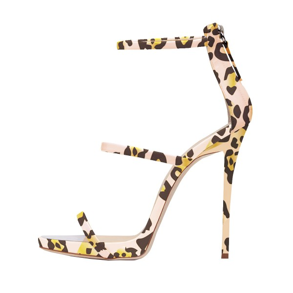 Leopard Print Heels Open Toe Three Straps Stiletto Heel Dressy Sandals image 2