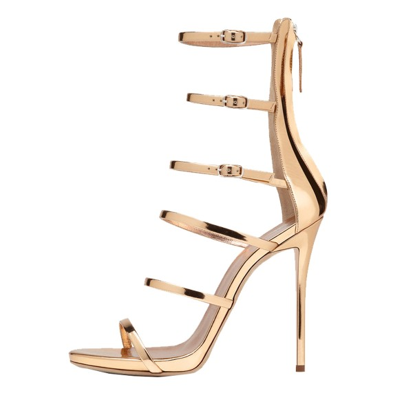 Gold Metallic Stiletto Heels Multi-strap Fashion Ankle Strap Sandals image 2