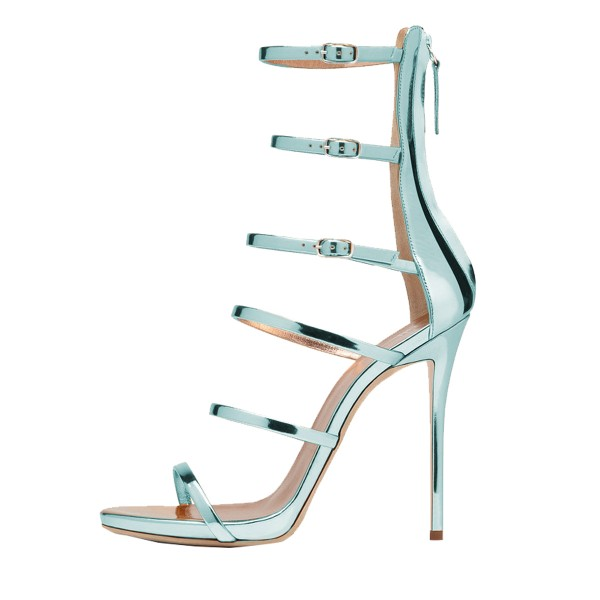 Light Blue Stiletto Heels Mirror Leather Open Toe Sandals image 2