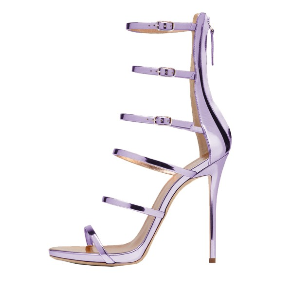 Orchid 5 Inch Heels Open Toe Mirror Leather Stiletto Heel Sandals image 2