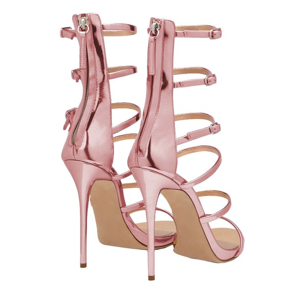 Pink Mirror Leather Gladiator Heels Stilettos Buckles Strappy Sandals image 2