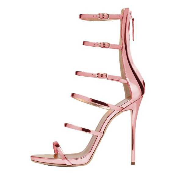 Pink Mirror Leather Gladiator Heels Stilettos Buckles Strappy Sandals image 3