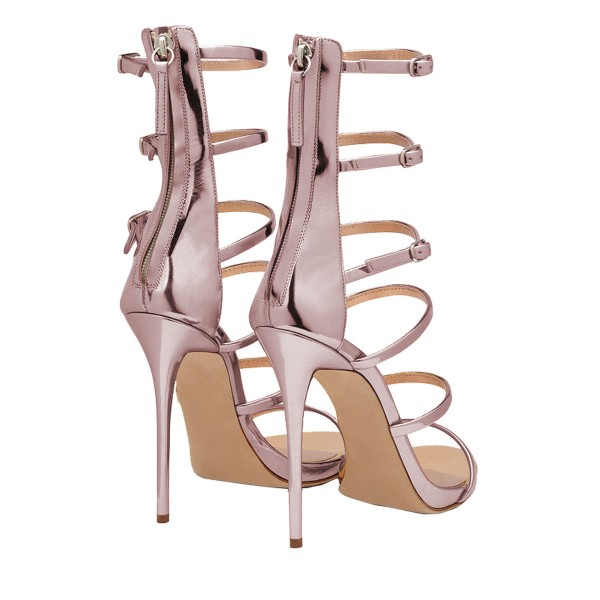 FSJ Rose Gold Gladiator Heels Mirror Leather Open Toe Dressy Sandals image 2