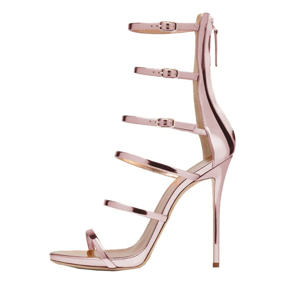 FSJ Rose Gold Gladiator Heels Mirror Leather Open Toe Dressy Sandals image 3