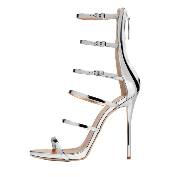 Silver Gladiator Heels Mirror Leather Open Toe Stiletto Heel Sandals image 3