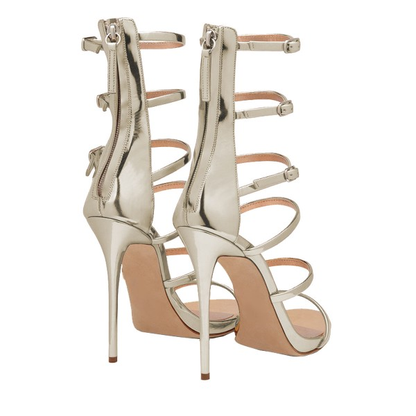 Women's Nude Romance Style Open Toe Stiletto Heel  Gladiator Sandals image 3