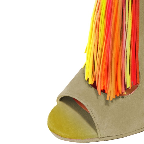 Women's Green Summer Boots Colorful Tassels Ankle Boots  image 2