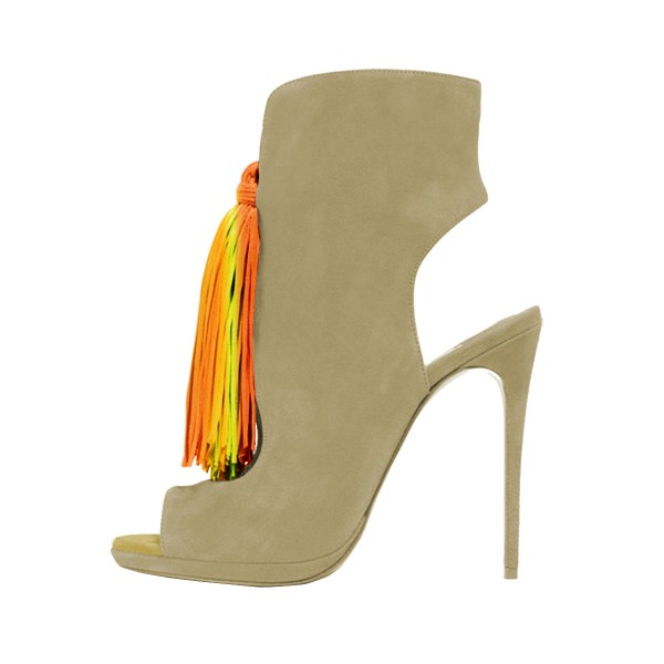 Women's Green Colorful Tassels  Pumps Heels Ankle Boots Comfortable Shoes image 1