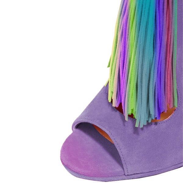 Purple Summer Boots Colorful Tassels Stilettos Open Toe Ankle Booties image 2