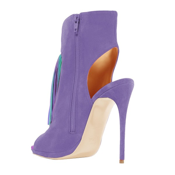 Purple Summer Boots Colorful Tassels Stilettos Open Toe Ankle Booties image 3