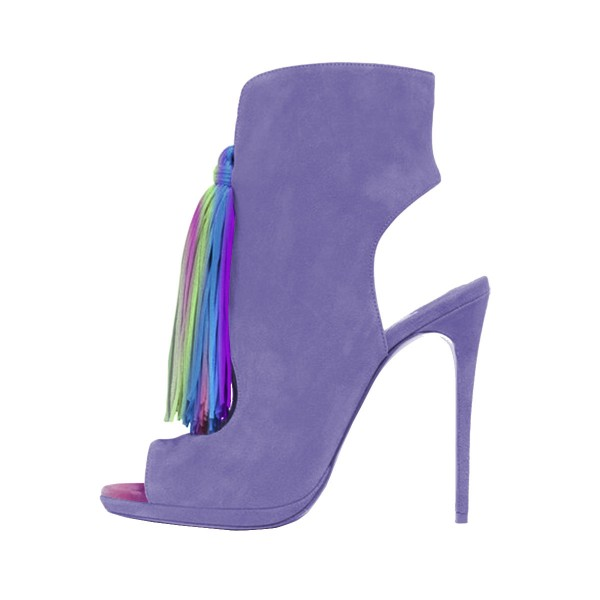 Purple Summer Boots Colorful Tassels Stilettos Open Toe Ankle Booties image 1