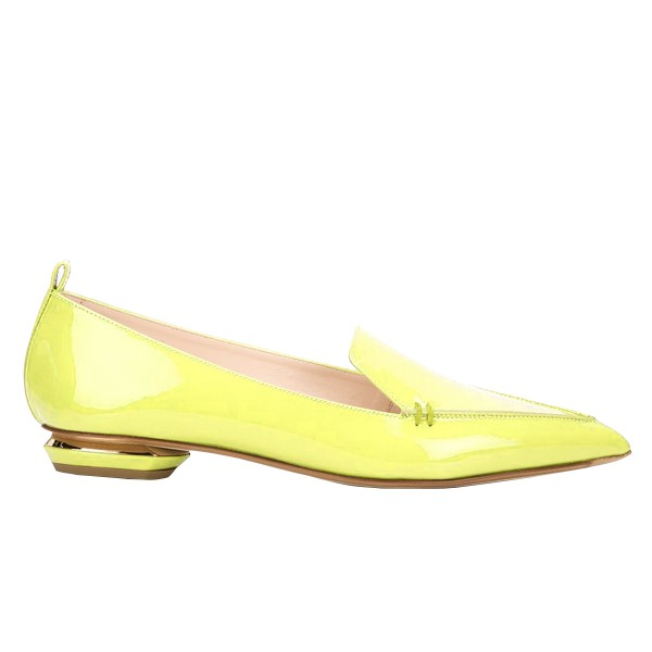 Yellow Pointy Toe Flats Patent Leather Loafers Comfortable Shoes image 2