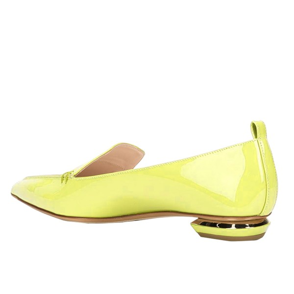 Yellow Pointy Toe Flats Patent Leather Loafers Comfortable Shoes image 3