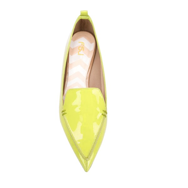 Yellow Patent Leather Loafers for Women Trendy Pointy Toe Flats image 4