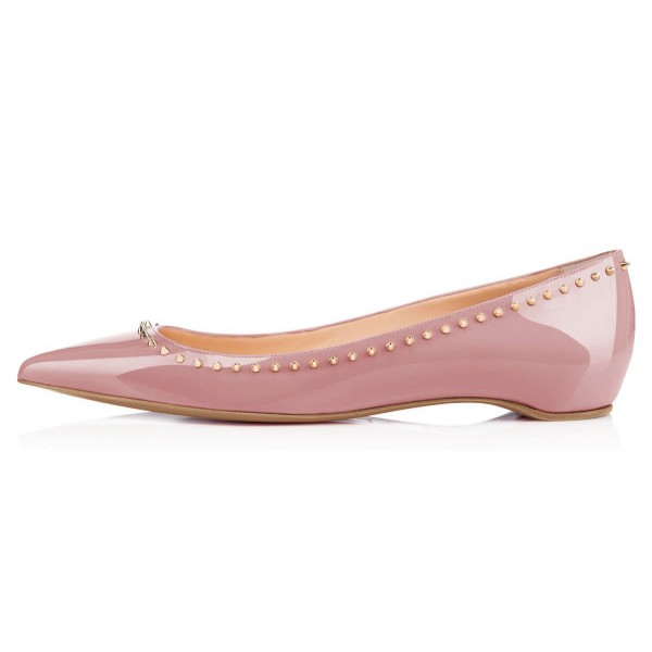 Women's Nude Pointed Toe with Rivets Comfortable Flats image 4