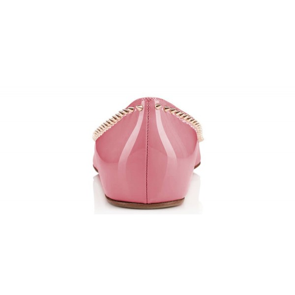 Women's Chloe Pink Rivets Pointy Toe Flats image 3