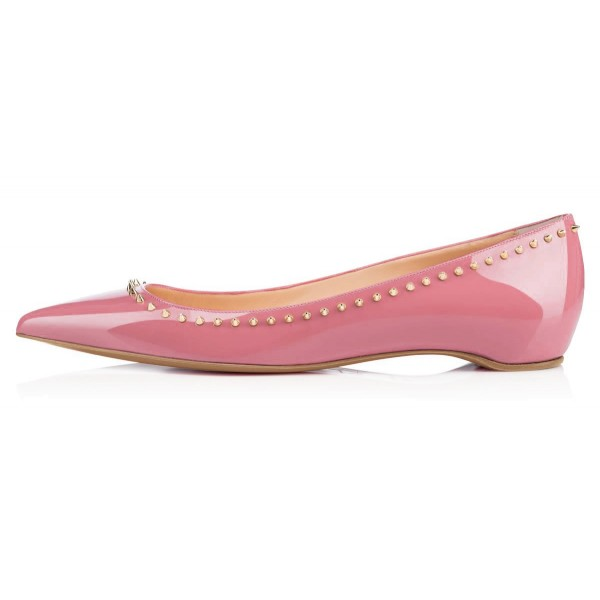 Women's Chloe Pink Rivets Pointy Toe Flats image 4
