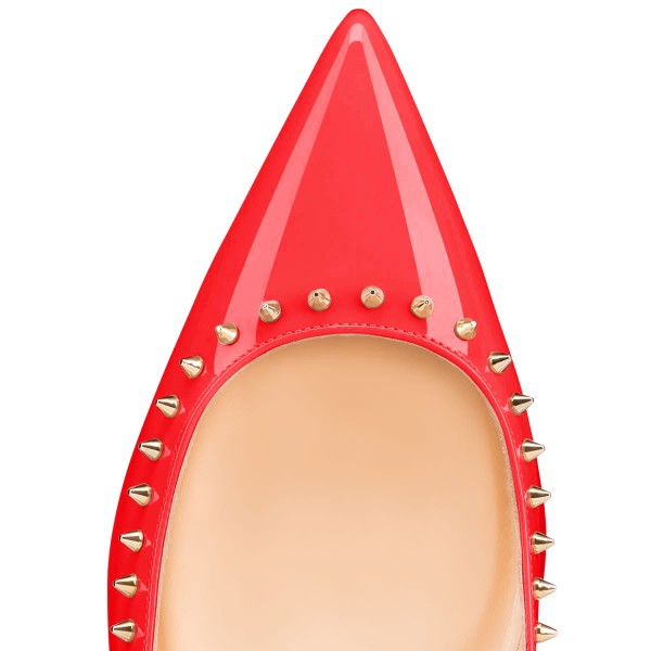 Women's Coral Red with Rivets Pointed Toe Pumps Comfortable Flats image 2