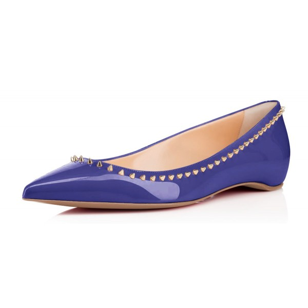 Blue Pointy Toe Flats Comfortable School Shoes image 1