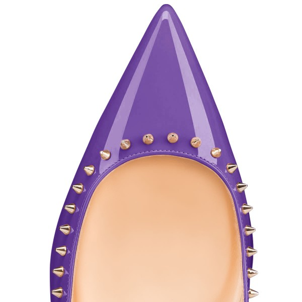 Viola Purple Pointy Toe Flats Comfortable Flats with Rivets image 2