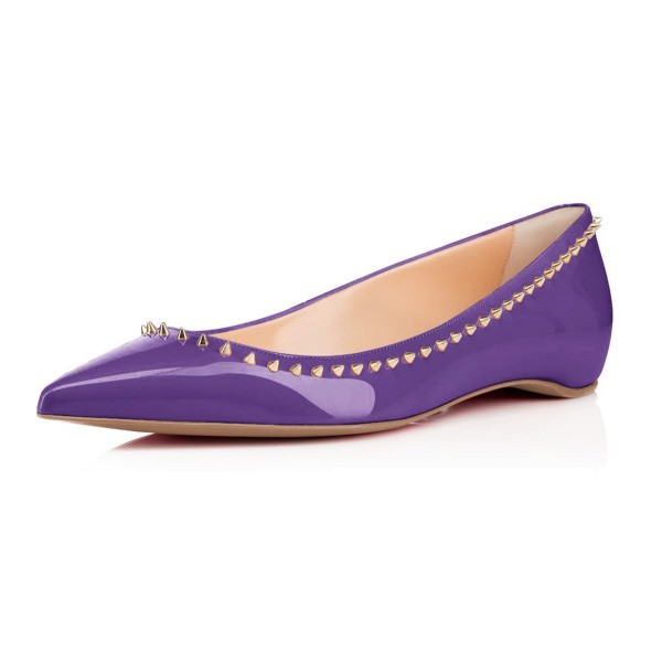 Viola Purple Pointy Toe Flats Comfortable Flats with Rivets image 1