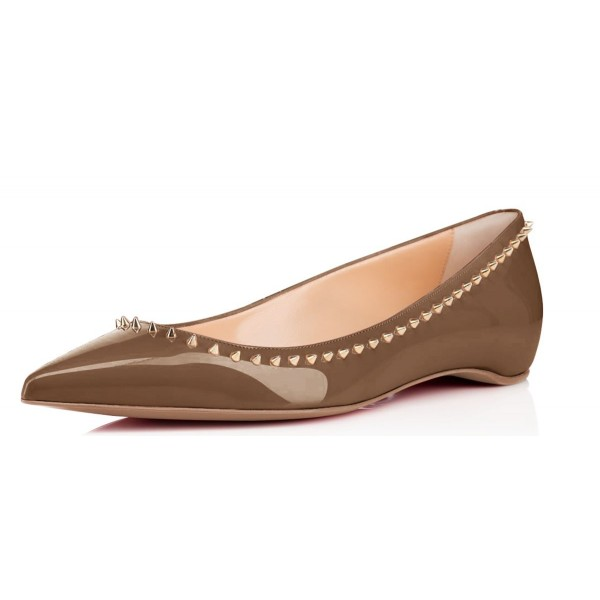 Brown Pointy Toe Flats Studded Patent Leather Shoes US Size 3-15 image 1