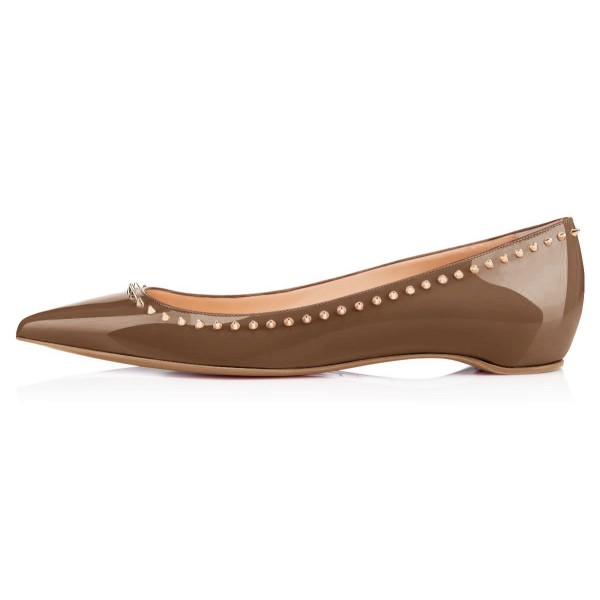 Brown Studded Pointy Toe Flats Patent Leather Shoes US Size 3-15 image 4
