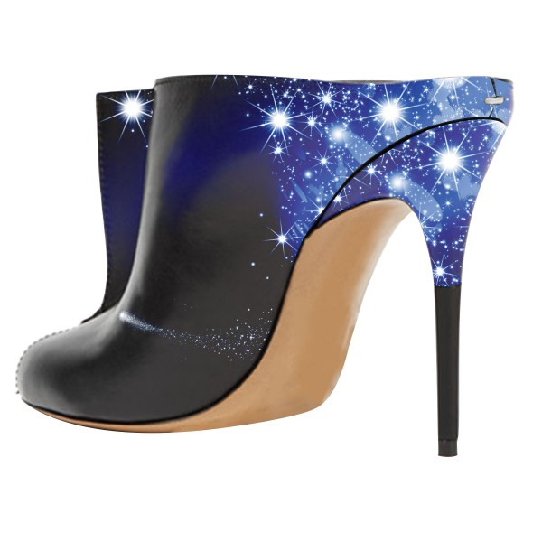 Midnight Sky Trending Mule Heels Key Hole Stiletto Heels image 2