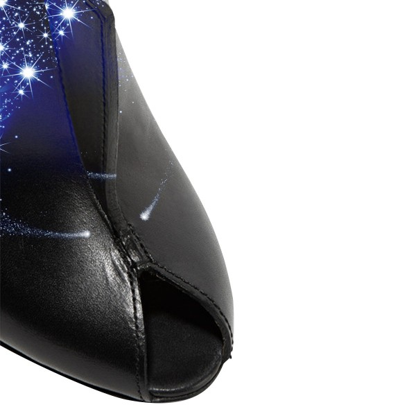 Night Sky Evening Shoes Key Hole Mules Sandals Stiletto Heels image 3