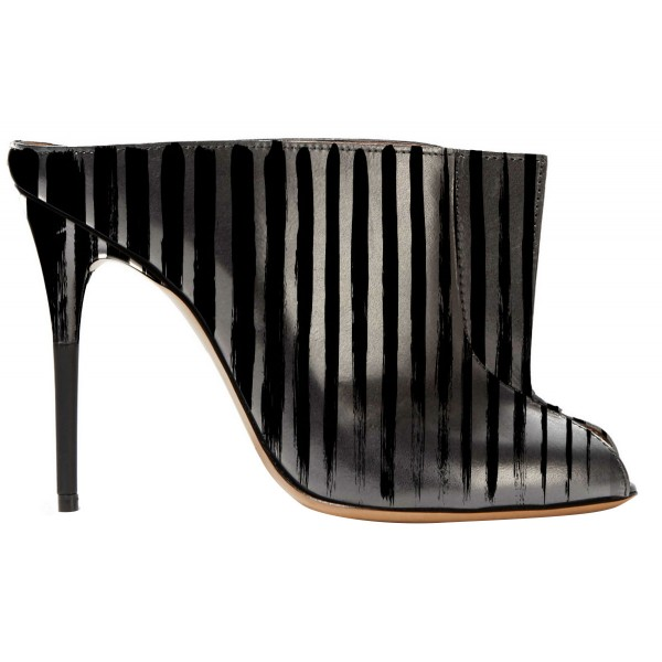 In Seaon Black and Silver Striped Stiletto Heels Trendy Mules image 2