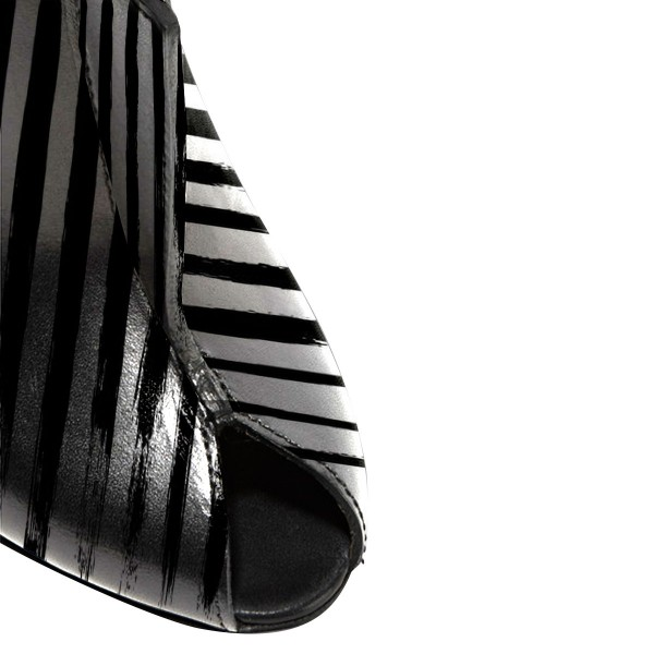 In Seaon Black and Silver Striped Stiletto Heels Trendy Mules image 3
